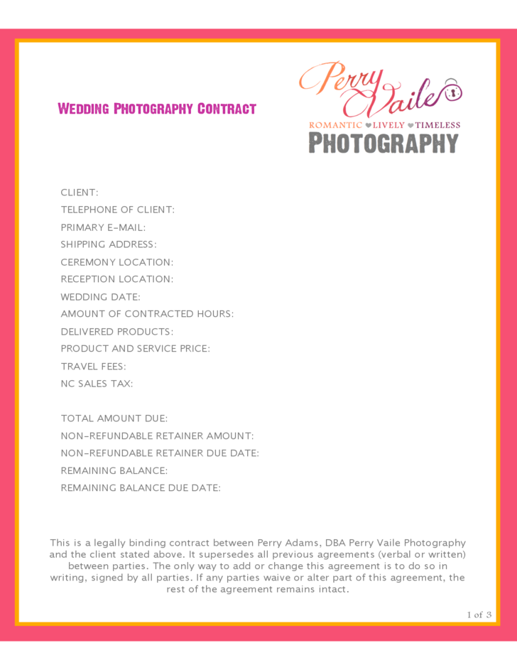 Photography contract sample photography contract for Birth photography contract template