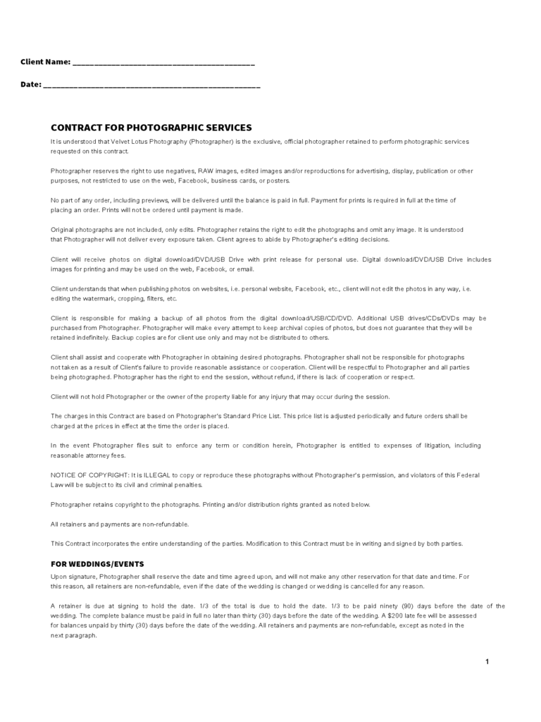photography service contract