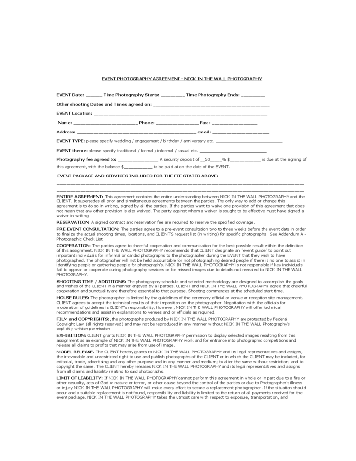 Event Photography Agreement Free Download