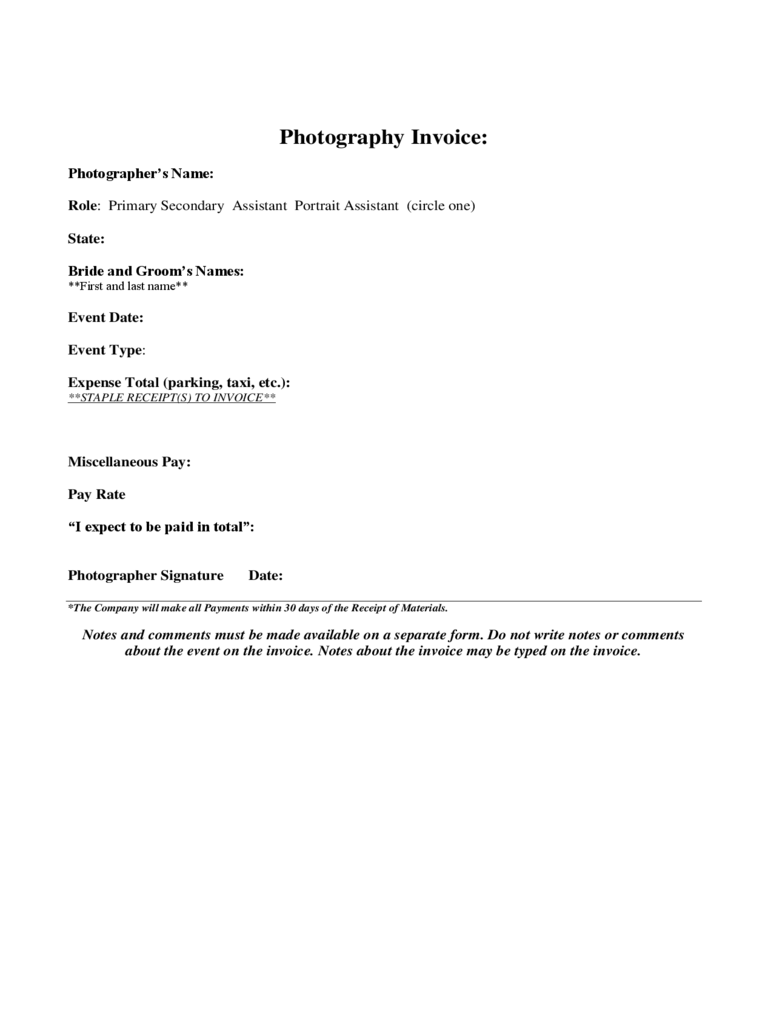 Blank Photography Invoice Template