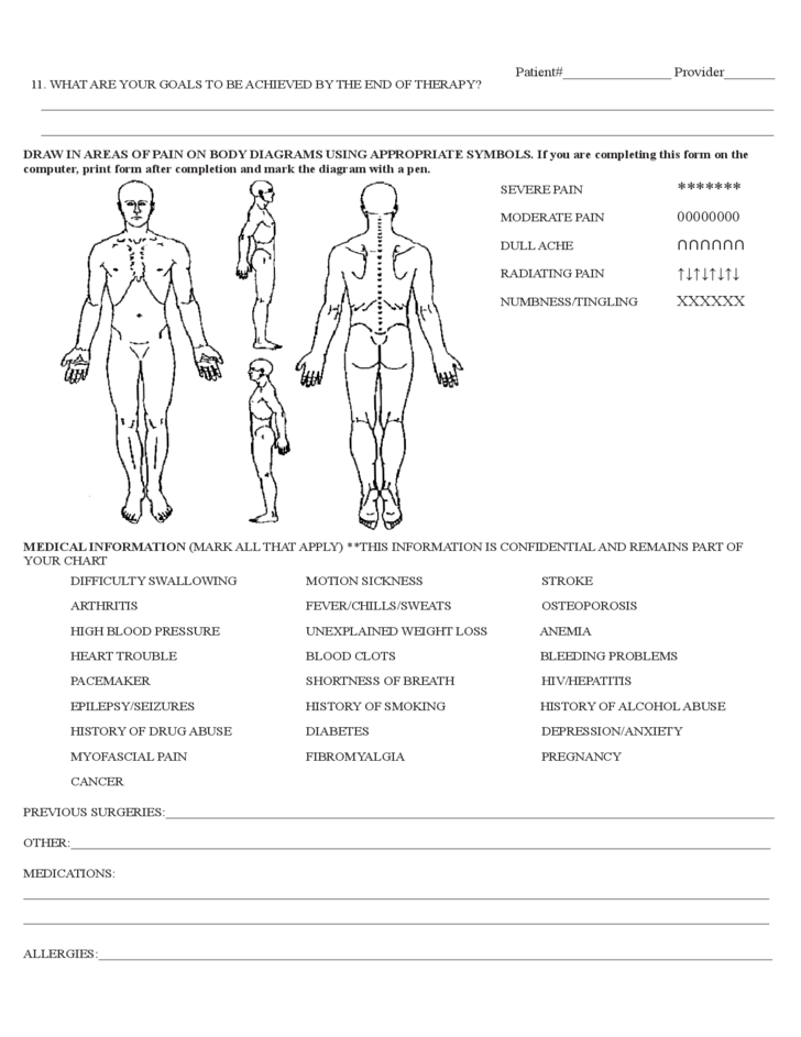 Physical Therapy Evaluation Form Sample Free Download