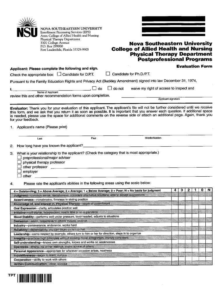 Physical Therapy Evaluation Form - Florida