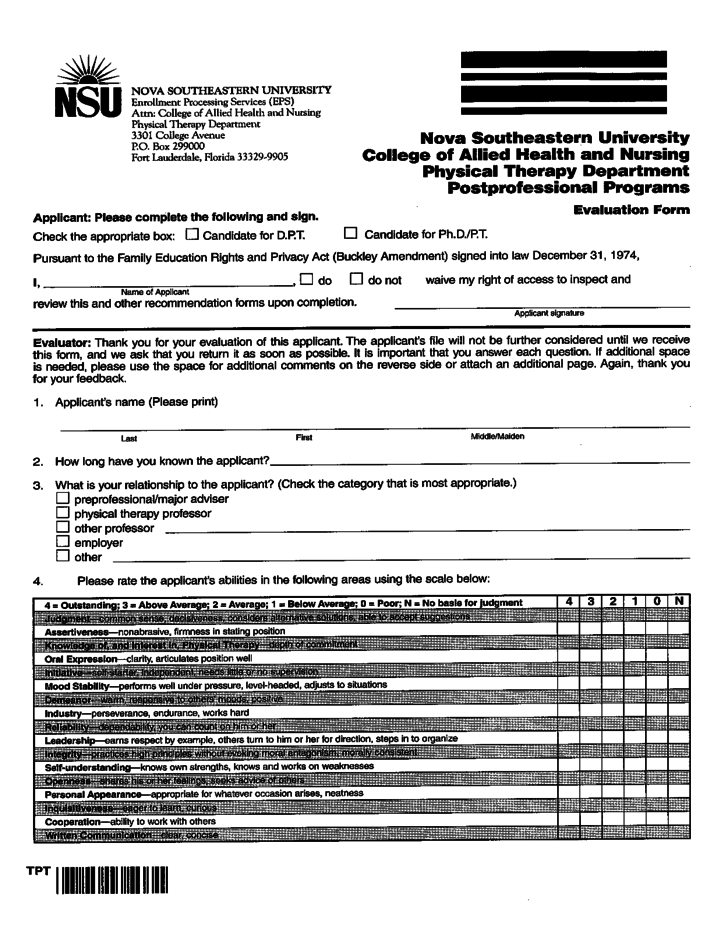 Physical Therapy Evaluation Form Florida Free Download