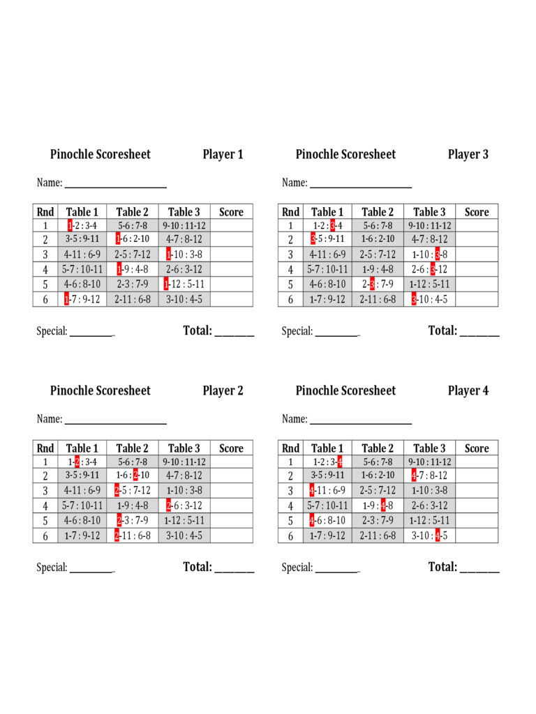 Pinochle Score Sheet 4 Free Templates In Pdf Word