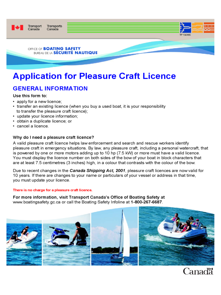 Application for Pleasure Craft Licence - Canada