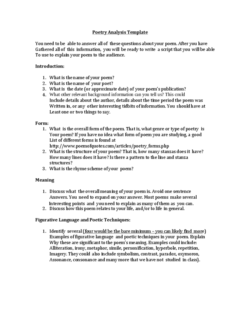Doc600580 Poetrys Analysis Template Sample Poetrys Analysis – Identifying Irony Worksheet Answers