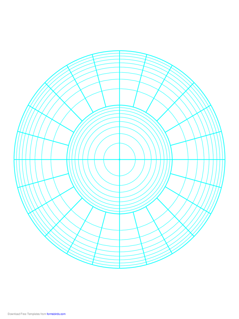 Polar Graph Paper - Logarithmic - Two Decades Fifteen Degrees