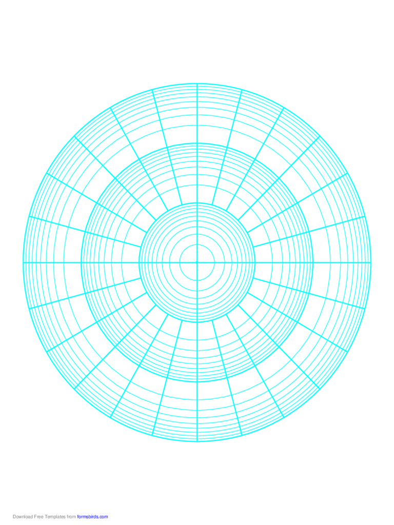 Polar Graph Paper - Logarithmic - Three Decades Fifteen Degrees
