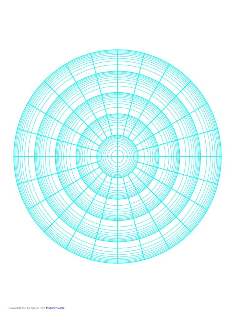Polar Graph Paper - Logarithmic - Five Decades Fifteen Degrees