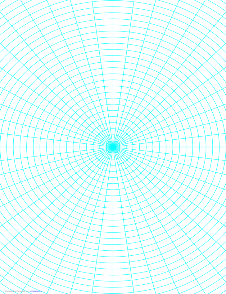 polar graph paper with 7 5 degree angles and 1  4