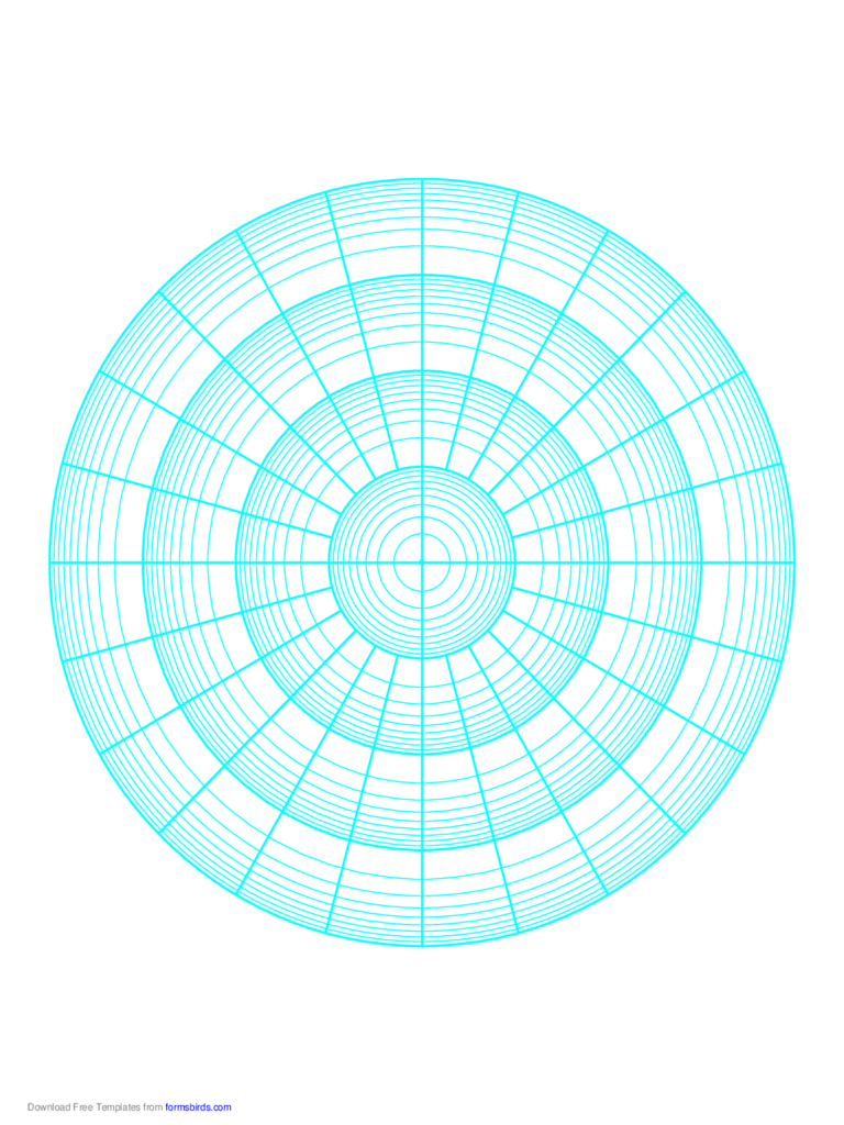 Polar Graph Paper - Logarithmic - Four Decades Fifteen Degrees