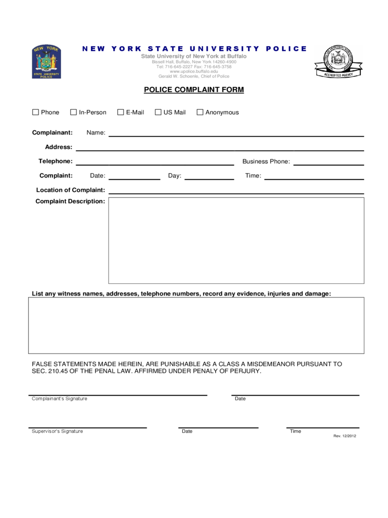 Police Complaint Form - State University of New York