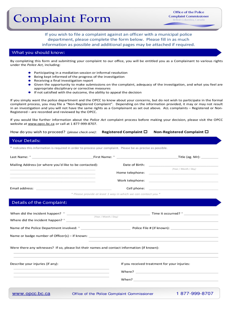 forms for police
