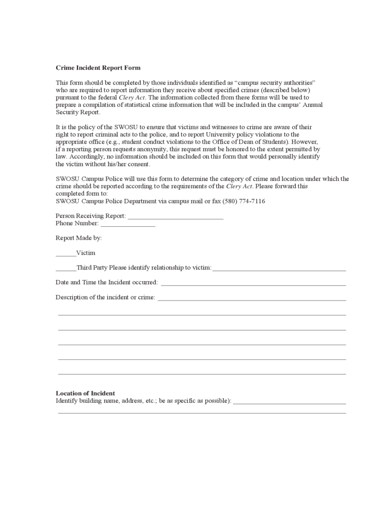 police-incident-report-form-southwestern-oklahoma-state-d1 Template Cover Letter Fax Resume Gold on google docs, free word, free printable, entry level,