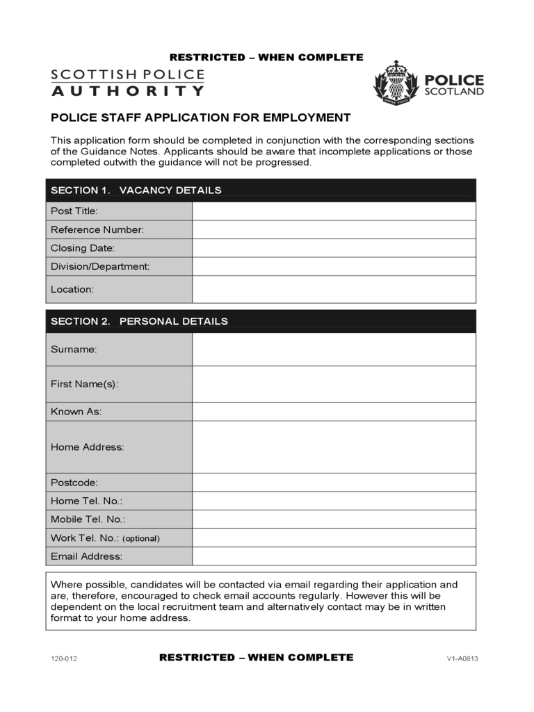 Police Staff Application for Employment - Scotland