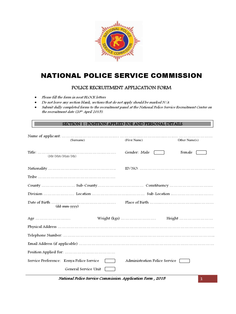 National Police Recruitment Application Form (2015)