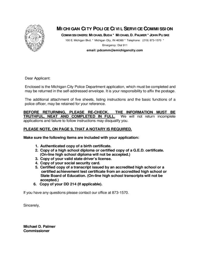 Police Service Commission Form - Michigan