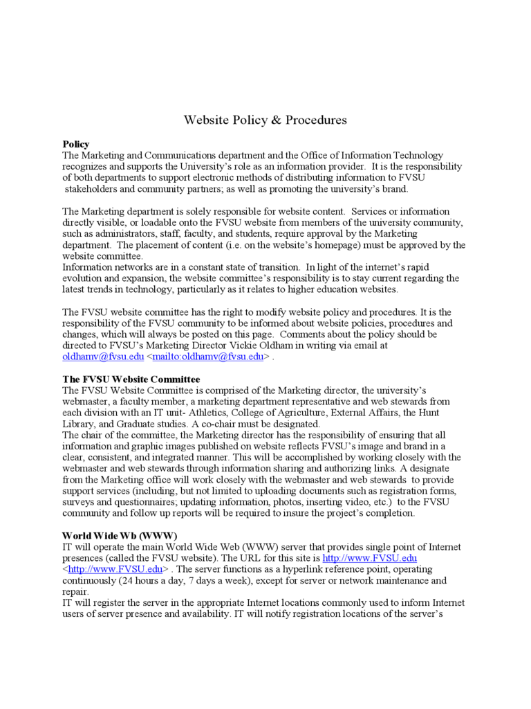 Website Policy and Procedures