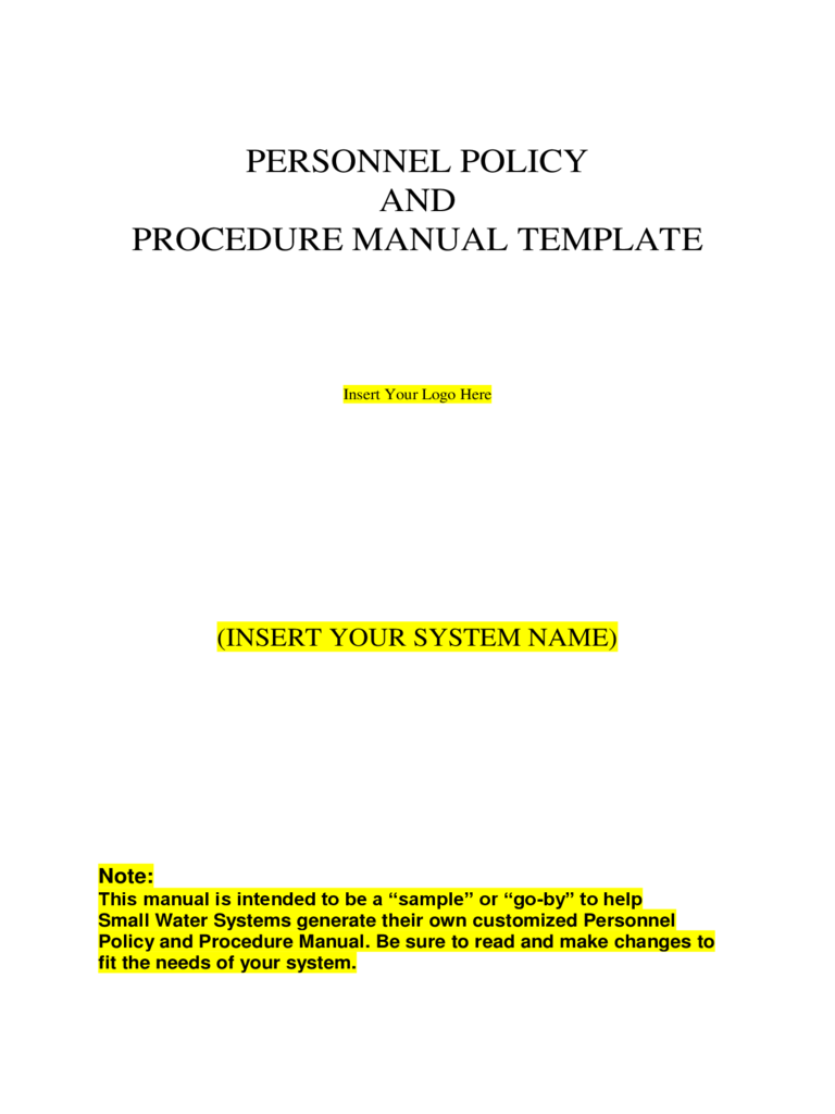 Personal Policy and Procedure Manual Template
