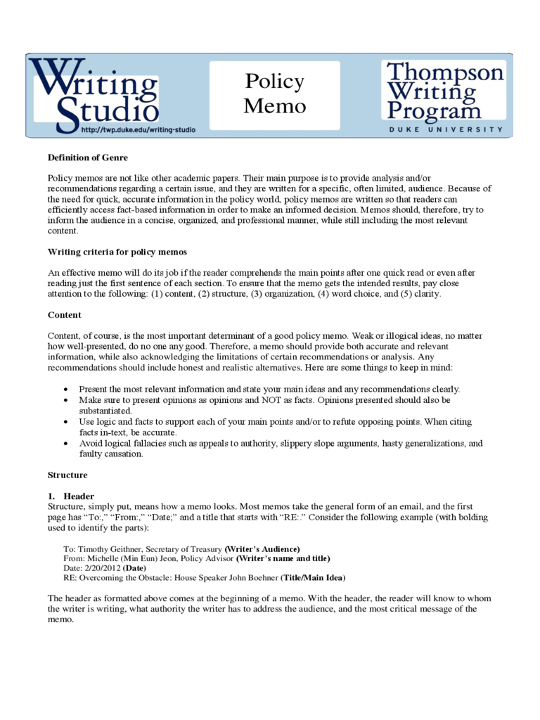 Policy Memo Guideline Free Download