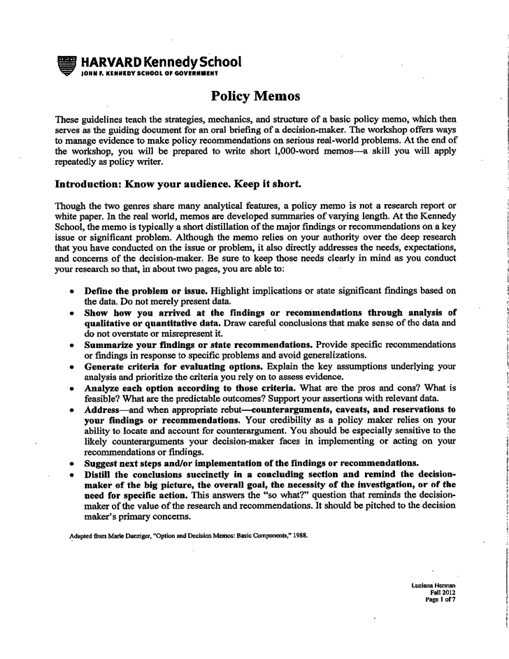 policy memo template free download