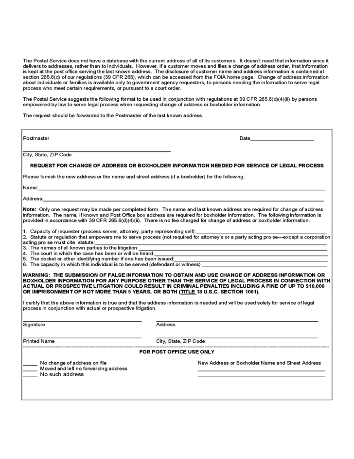 Us Postal Service Change Of Address Pictures to Pin – Printable Change of Address Form
