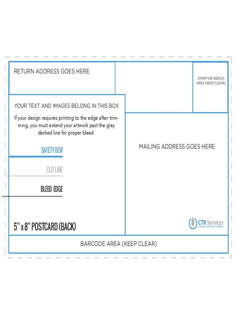 5 and 8 Postcard Back Template