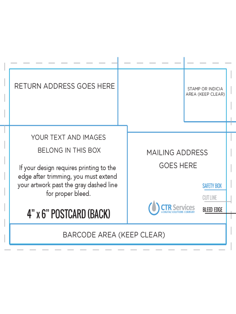 4 and 6 Postcard Back Template