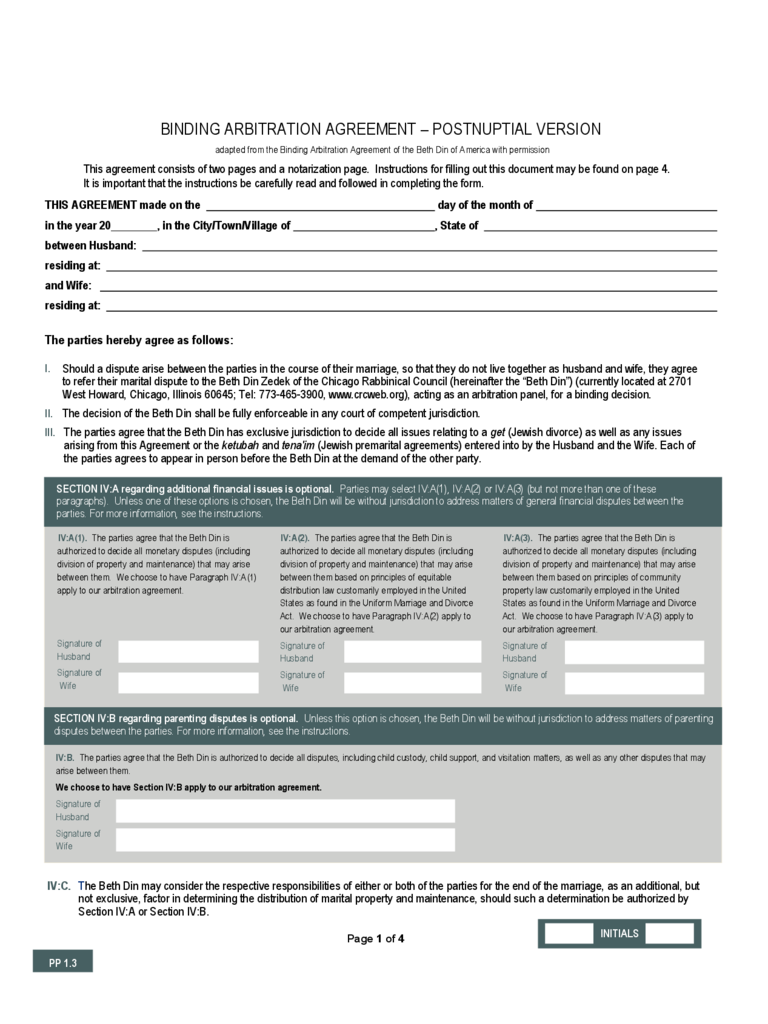 Free Postnuptial Agreement Form 10 Best Images Of Free