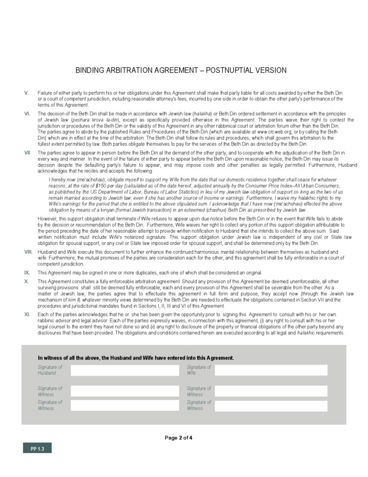 Binding Arbitration Agreement Postnuptial Version