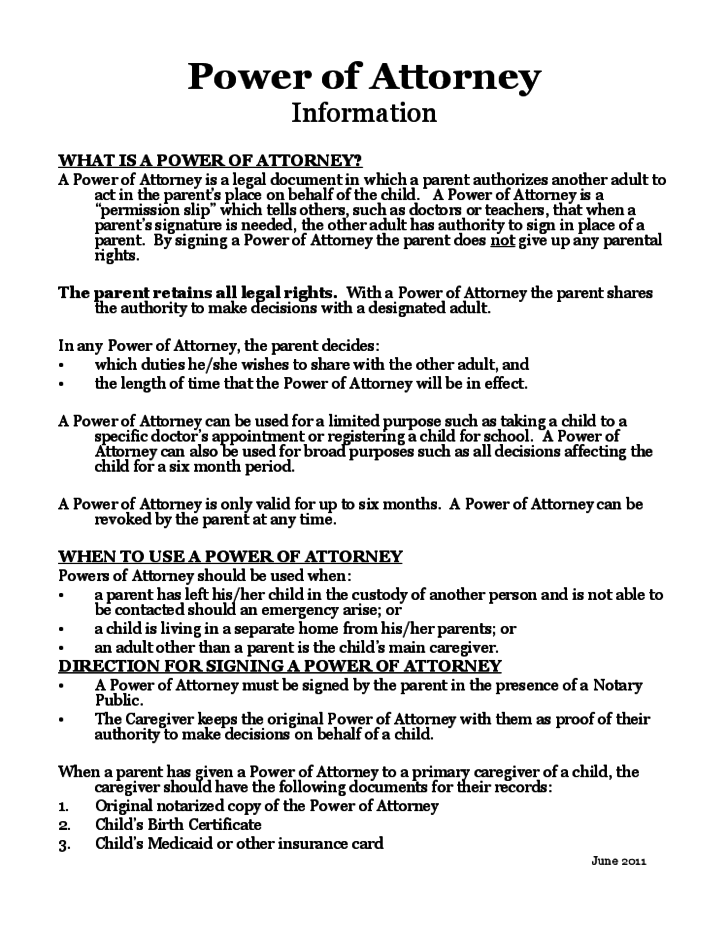 Power of Attorney for a Minor Child
