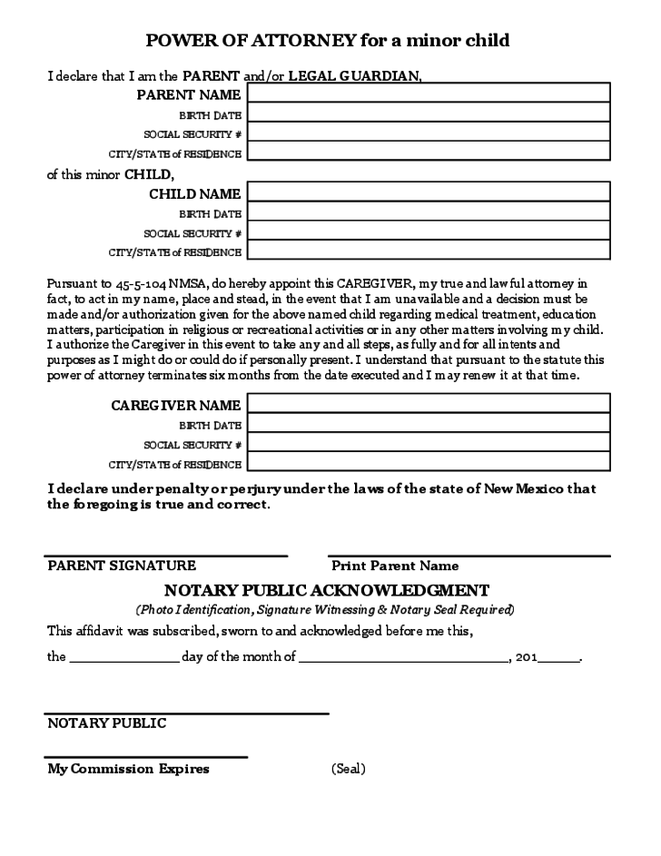 power of attorney form michigan for minor child  Power of Attorney for a Minor Child Free Download