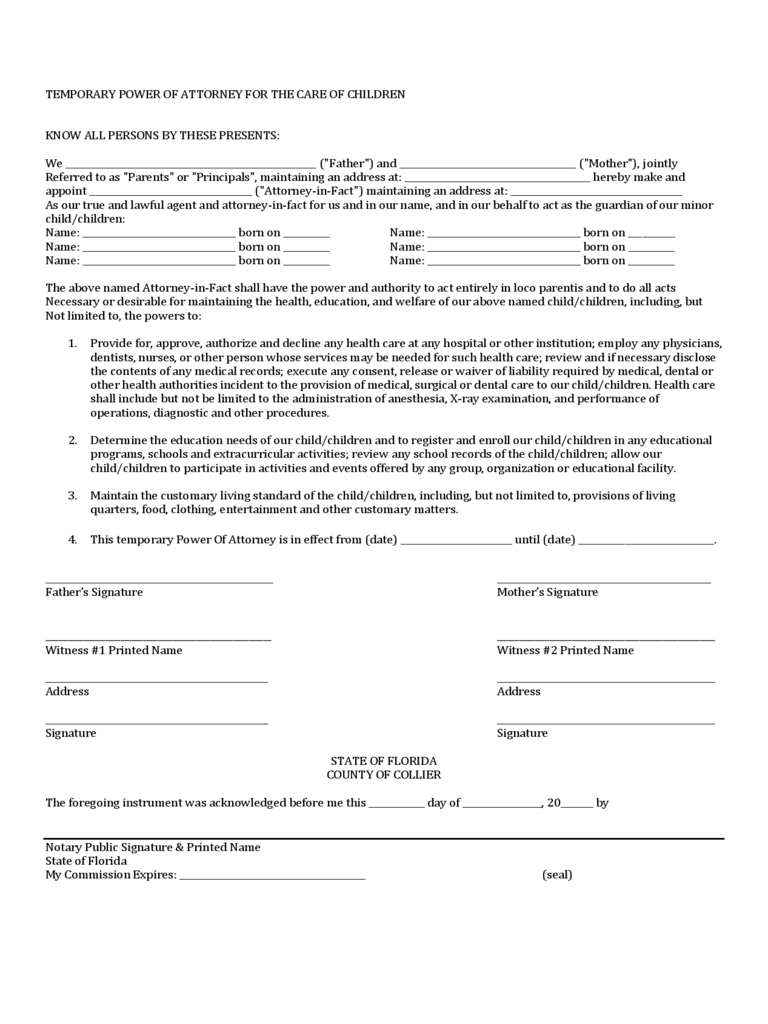 Power of attorney for minor child form 7 free templates in pdf temporary power of attorney for the care of children florida falaconquin