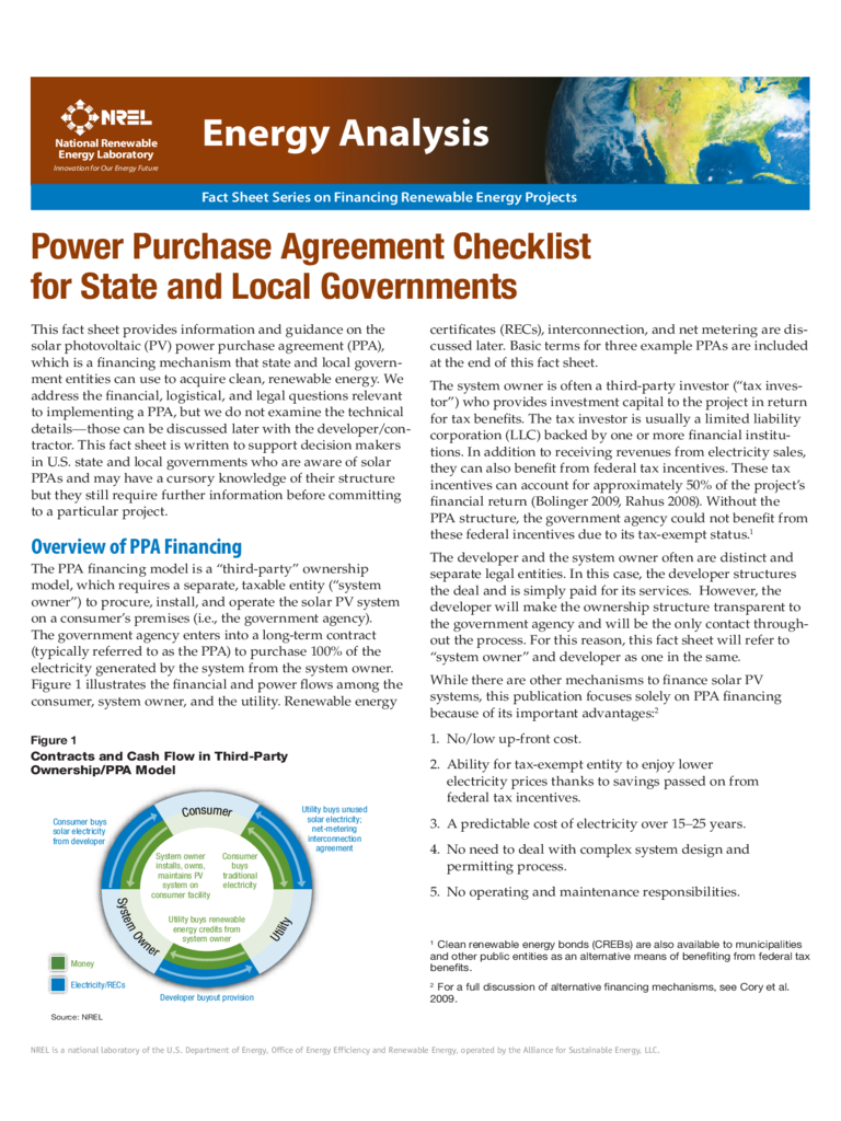 Power Purchase Agreement Checklist for State and Local Governments