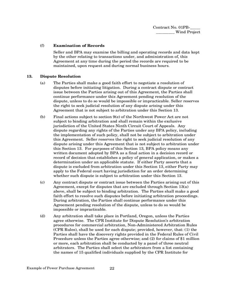 example of power purchase agreement free download