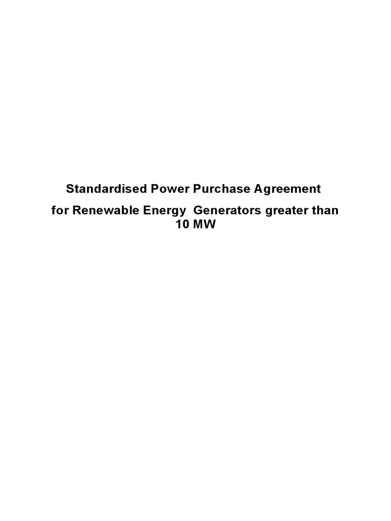 Standardised Power Purchase Agreement for Renewable Energy Generators