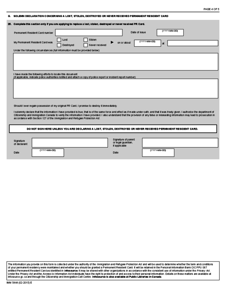 Application for a Permanent Resident Card - Canada