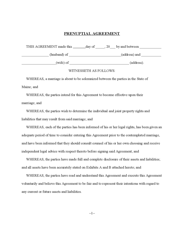Prenuptial Agreement - Maine