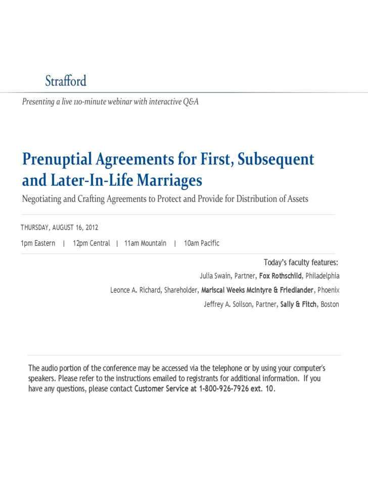 Prenuptial Agreements For First Subsequent And Later In
