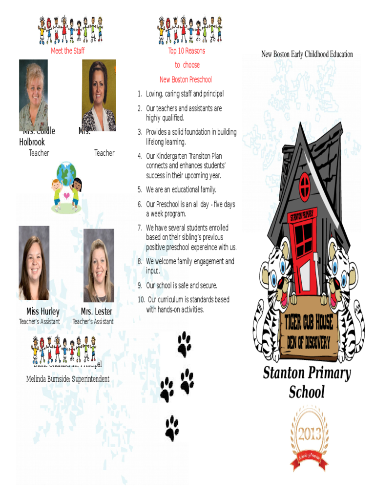 Preschool Brochure - New Boston Schools