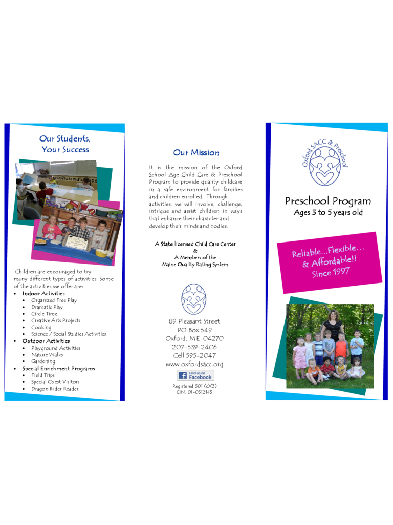 Standard Preschool Brochure Template