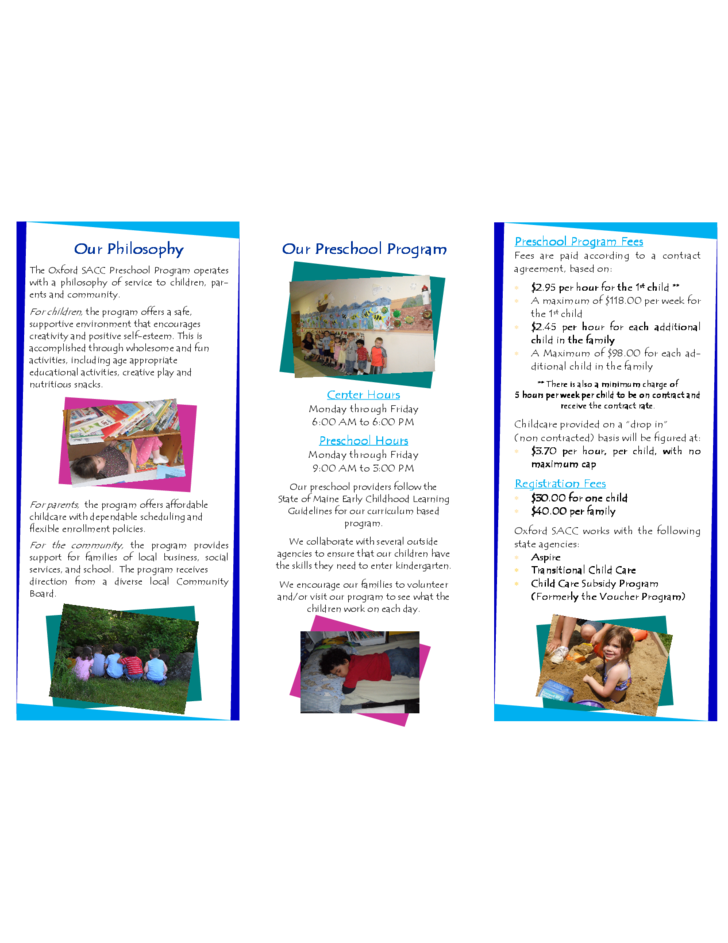 Standard preschool brochure template free download for Preschool brochure template
