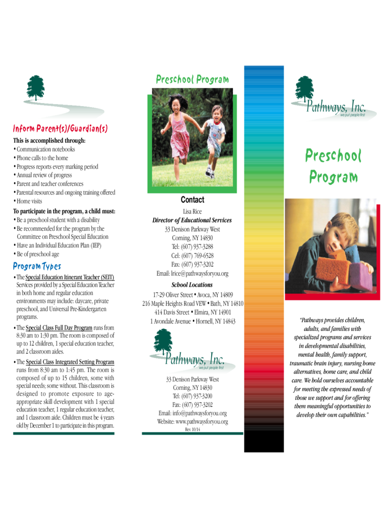 Preschool Brochure   Pathways  Free Brochure Templates For Word To Download