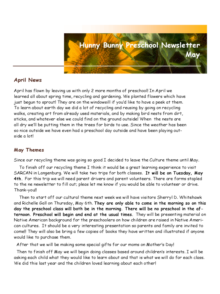 Hunny Bunny Preschool Newsletter