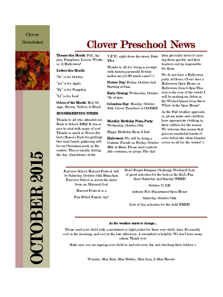 Preschool Newsletter May 2015