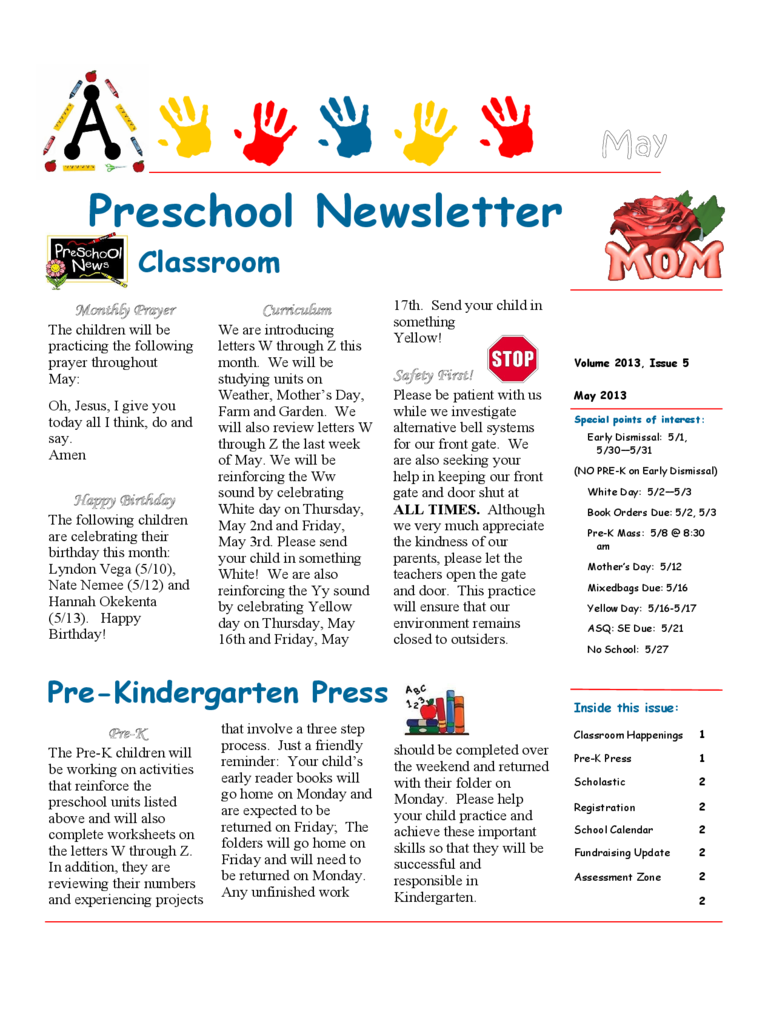 Preschool Newsletter Sample