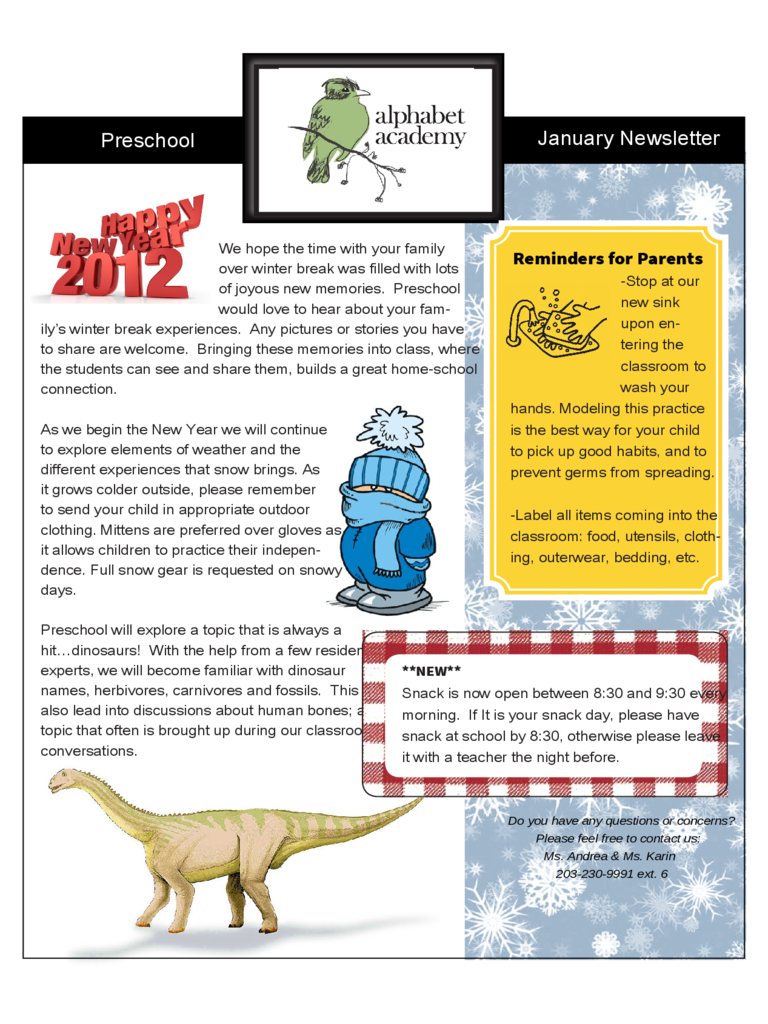 Preschool January Newsletter - Alphabet Academy