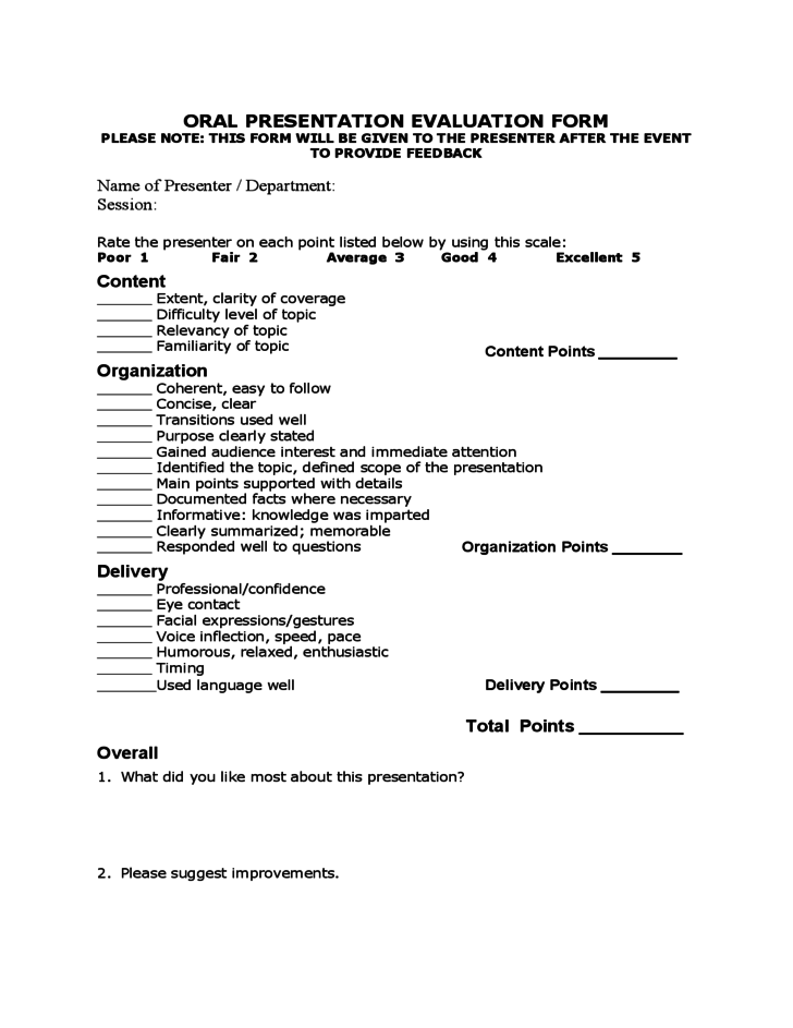 oral presentation evaluation form template free download