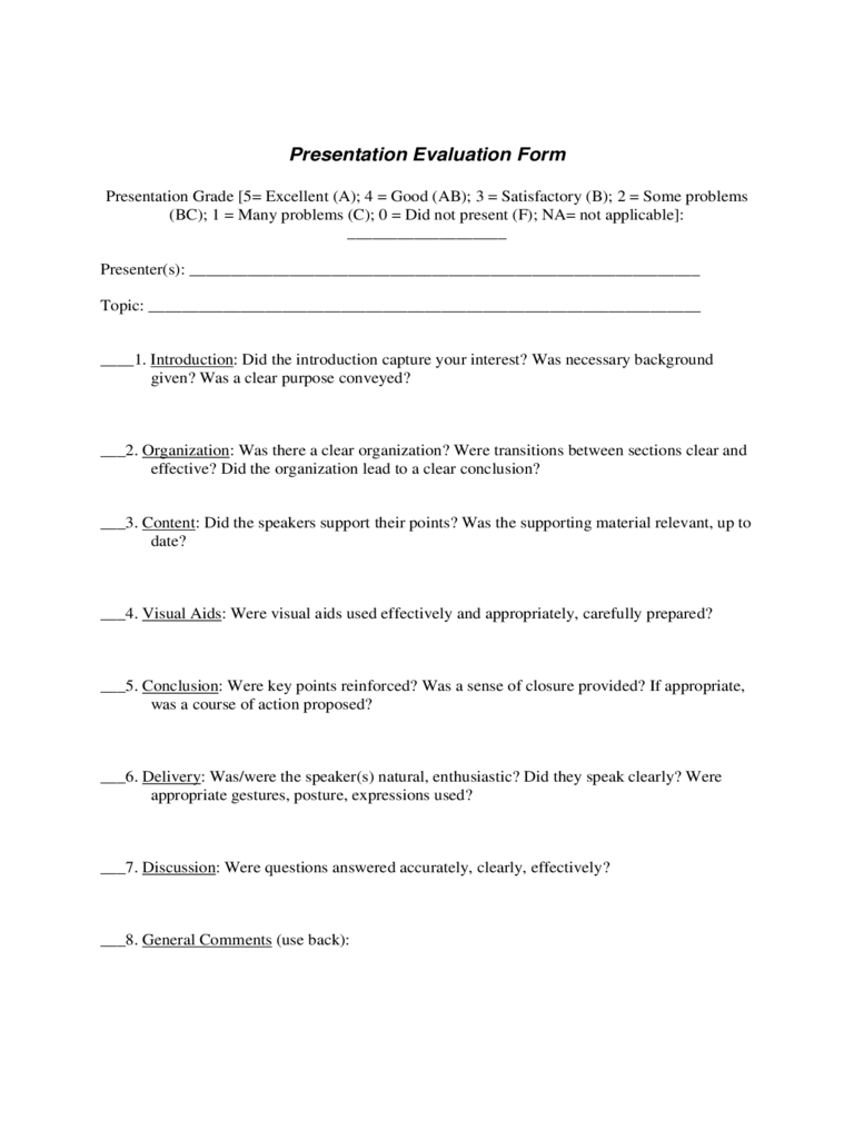 Presentation Evaluation Form 6 Free Templates in PDF Word – Presentation Evaluation Form in Doc