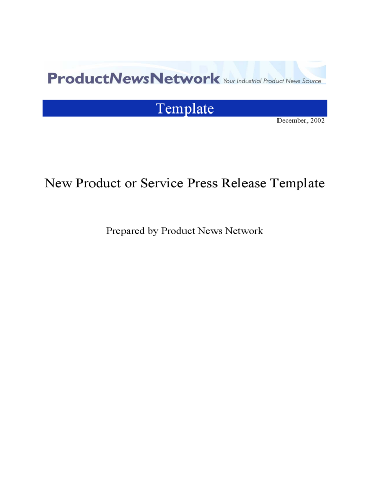 New Product or Service Press Release Template